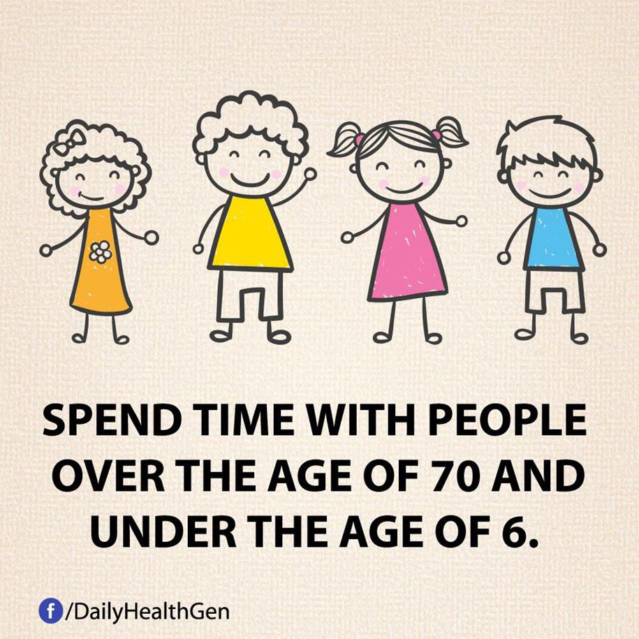 Spendi del tempo con persone sopra i 70 anni e sotto i 6 anni.