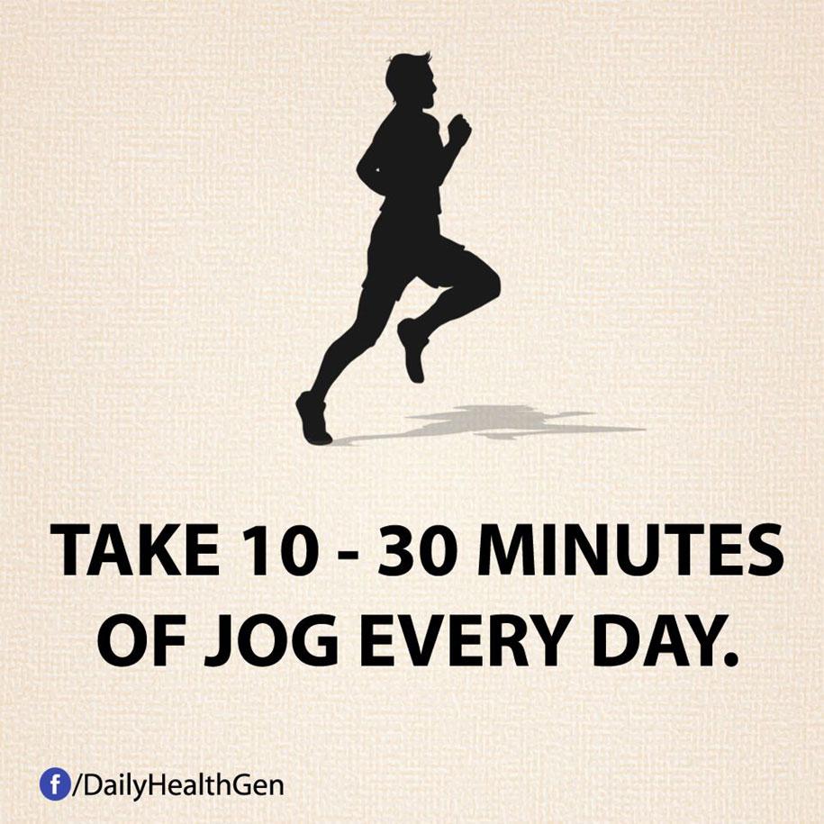 Fai jogging tra i 10 e i 30 minuti al giorno.