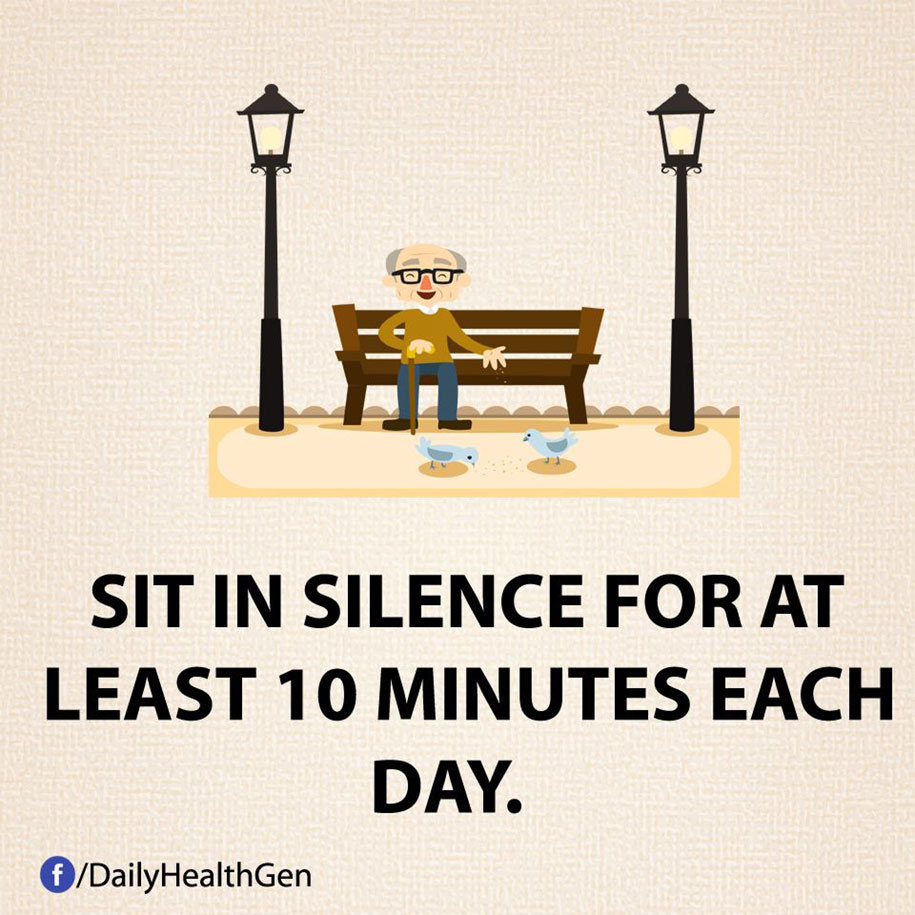 Stai seduto in silenzio per almeno 10 minuti al giorno.